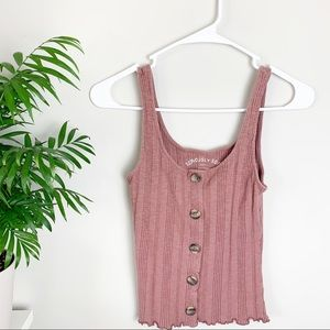 Aeropostale Pink Mauve Ribbed Button Tank Top